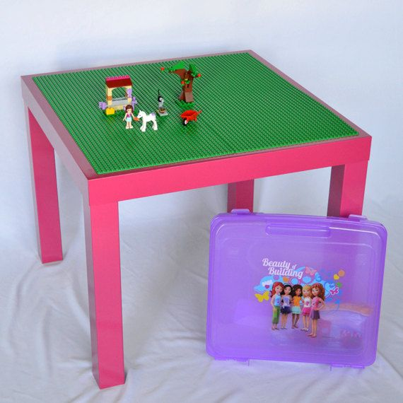 Glossy Pink LEGO Table 20 x 20 Build Surface with by