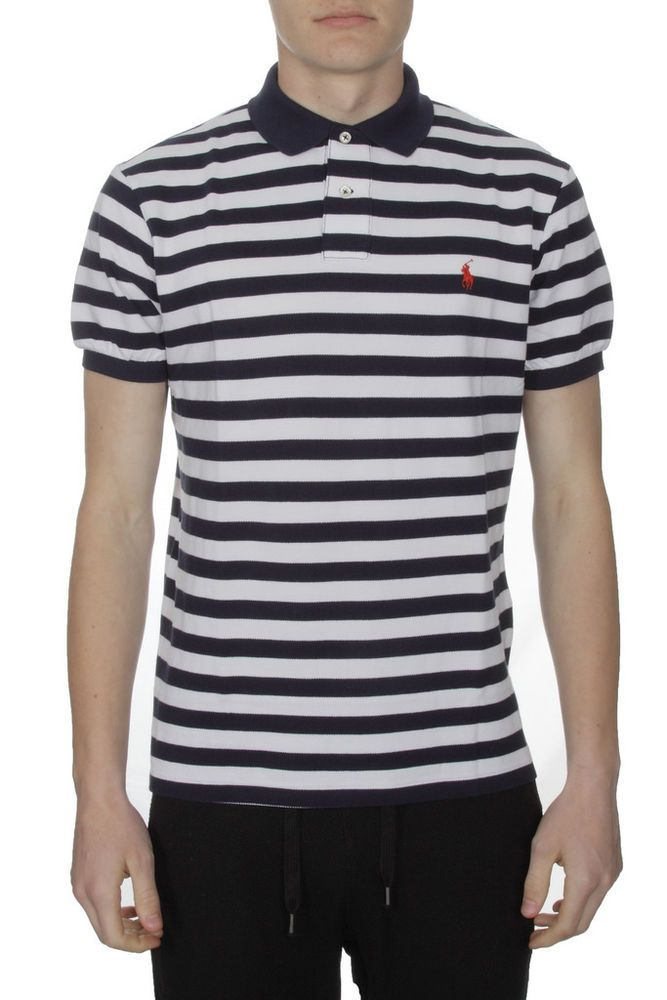 Polo Ralph Lauren Custom Fit Striped Polo Shirt Navy/White