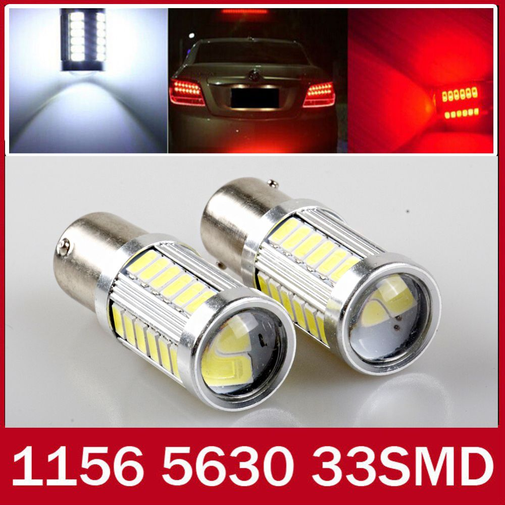 2pcs white Red Yellow p21w led 33SMD 1156 ba15s 12v 5630 5730 bulb ...