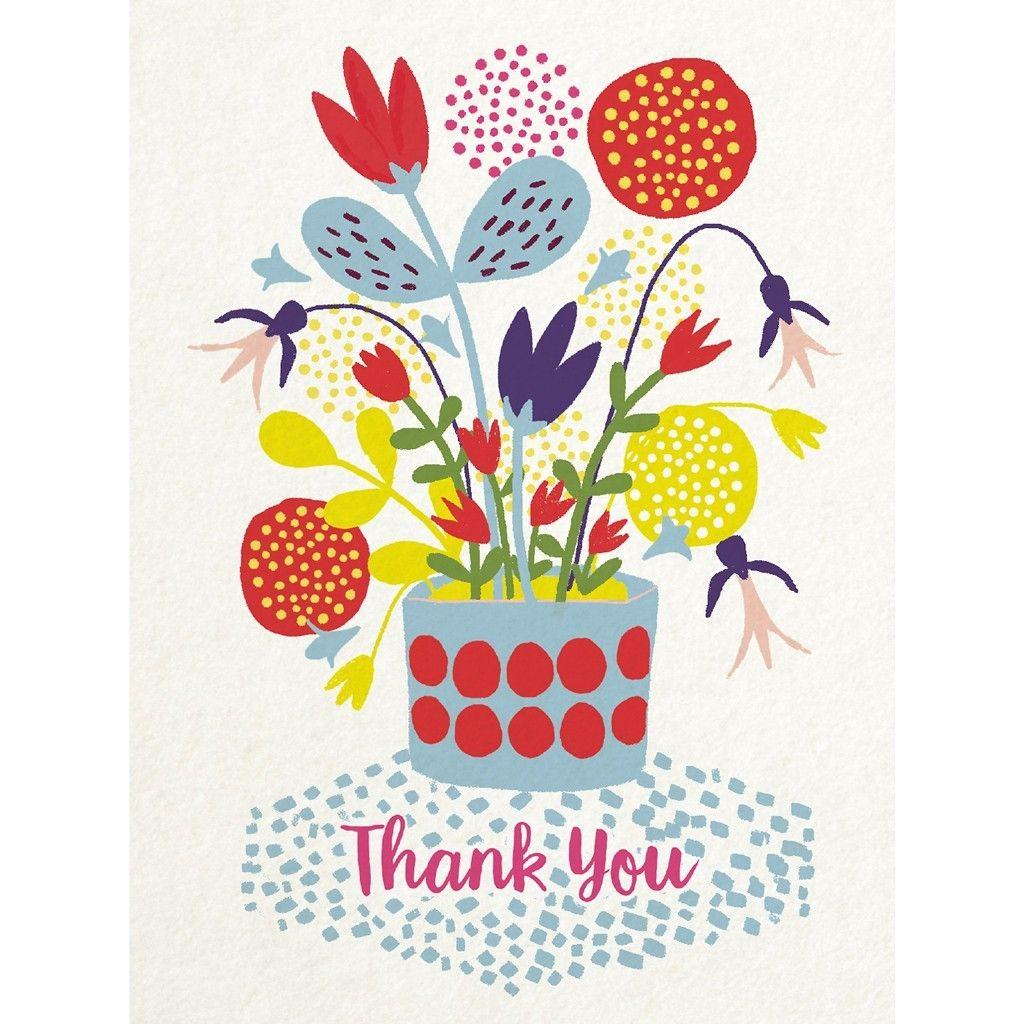 flower pot thank you card  christmas card illustration