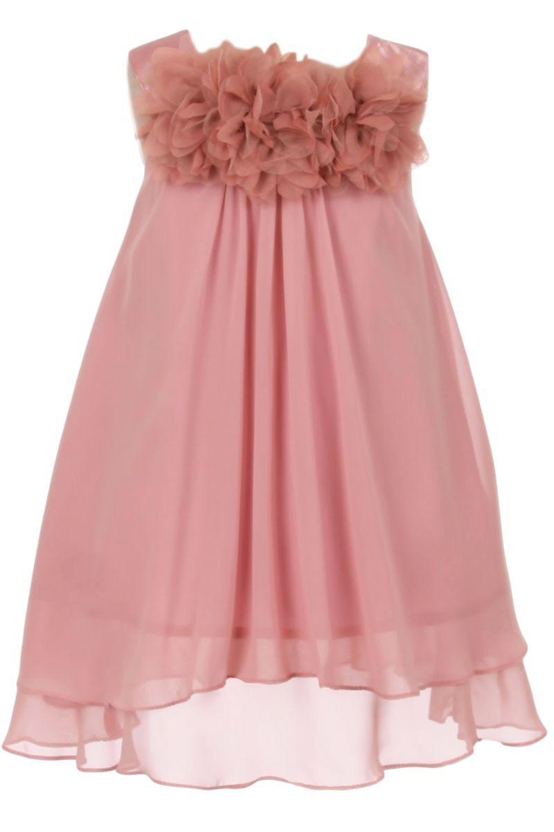 Dusty Rose Chiffon Shift Dress with 2 Tier Hem & Floral Mesh ...