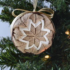 Cream And Burlap Quilted Ornament Ball Sewn Christmas Ornaments Fabric Christmas Ornaments Quilted Christmas Ornaments