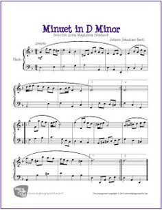 Minuet In D Minor Bach Free Sheet Music For Piano Http
