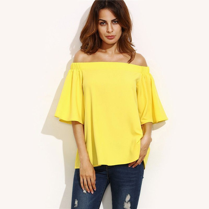 078458fd64d865 Yellow Off Shoulder Half Sleeve Blouse  20.00 Free Shipping on all orders  www.ShopDulceVida.com .  WorkWear  Dress  Outfit  simpleoutfits  casual   skirt ...