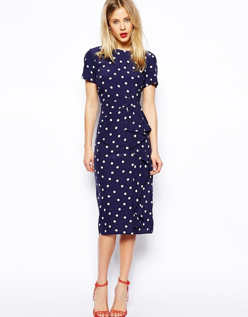 Asos asos pencil dress in spot with waterfall skirt at for Pencil dress for wedding