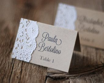 Handmade Rustic Tented Table Place Card Setting Custom Shabby Chic Vintage Burlap Lace Boho Gift Tag Menu Meal