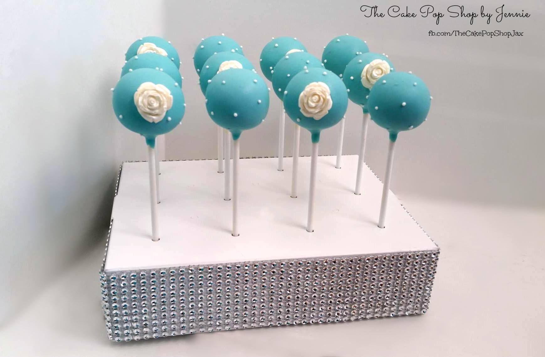 cake pop ideas wedding shower%0A Tiffany color cake pops for a bridal shower  In a BRP box shop cake pop