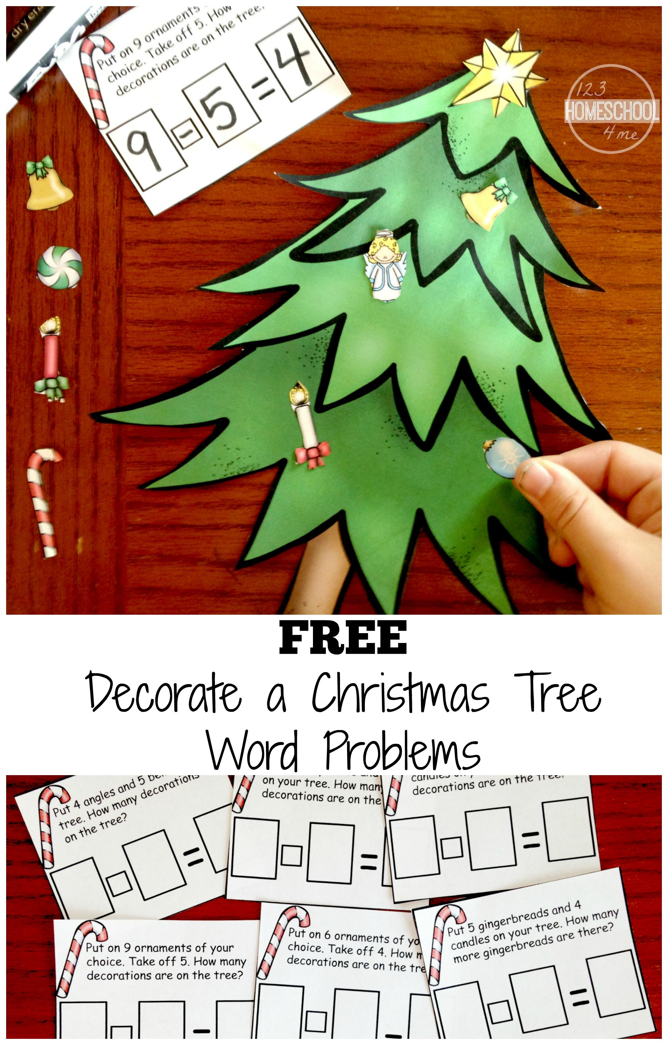 Decorate a Christmas tree addition and subtraction word problems ...