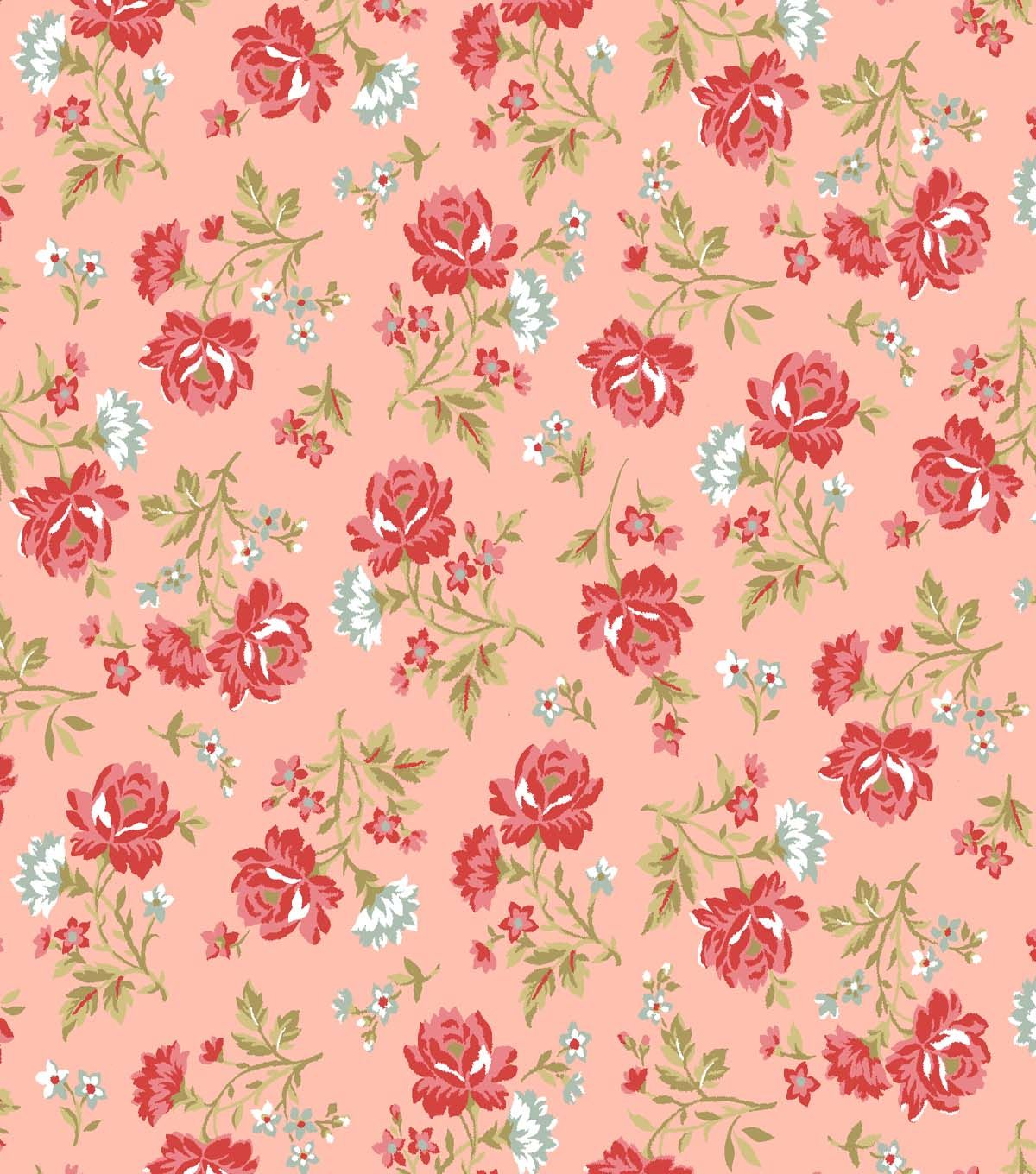 Keepsake Calico Fabric Rose Bouquet Red & PinkKeepsake Calico Fabric ...