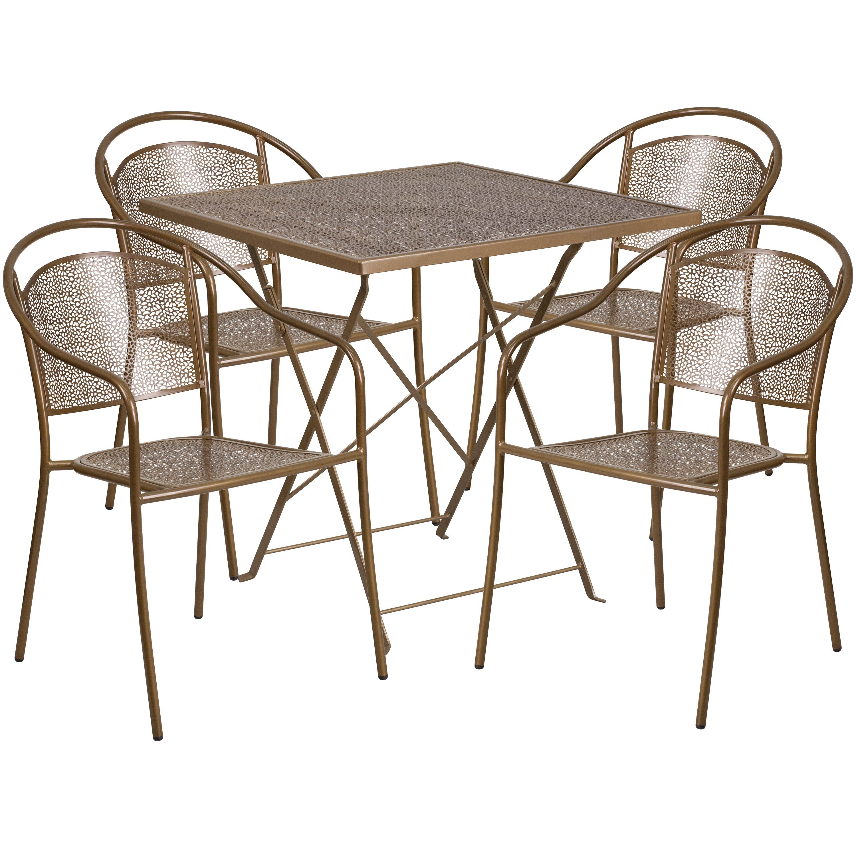 Uu square gold indooroutdoor steel folding patio table set with
