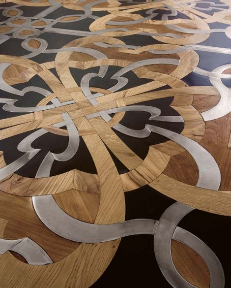 Wood Floor Mosaic With Steel And Stone Inserts By Parchettificio