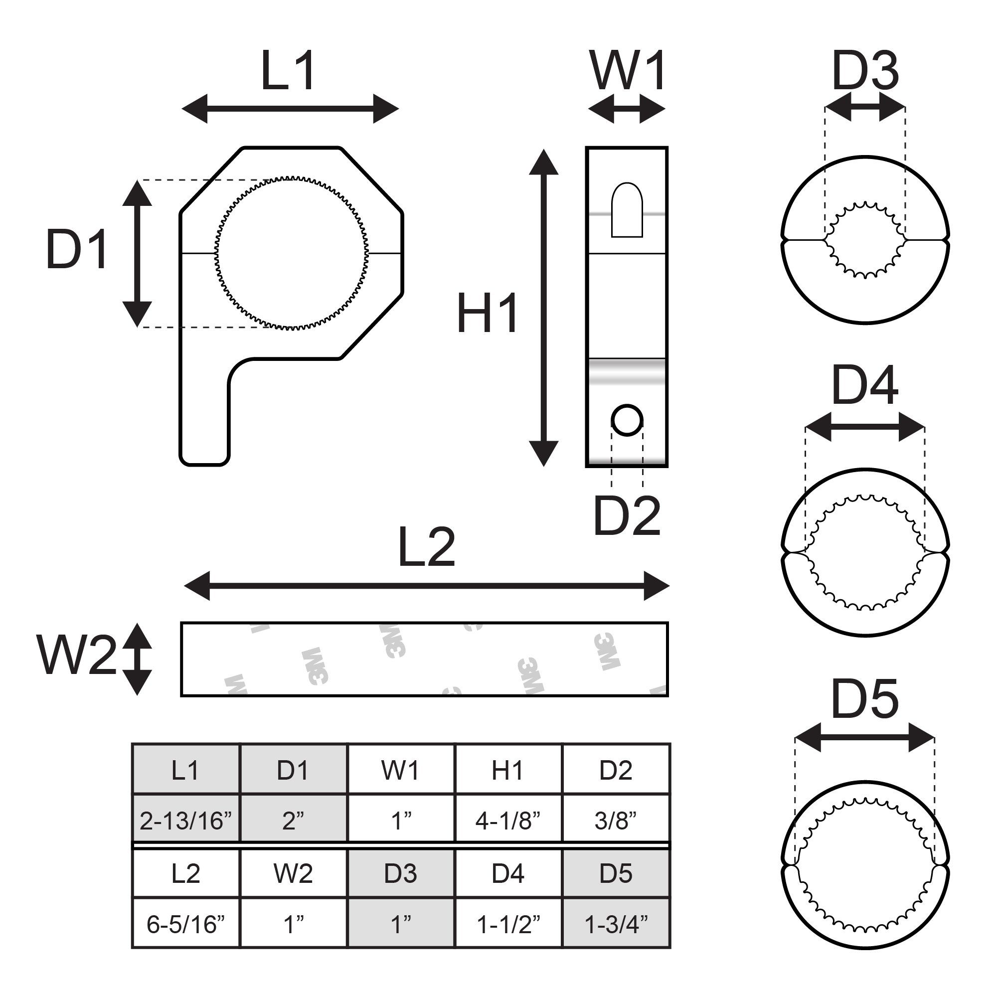 LAMPHUS Cruizer Horizontal Bar Clamp Mounting Kit 1// 1.5// 1.75 Includes 1 clamp