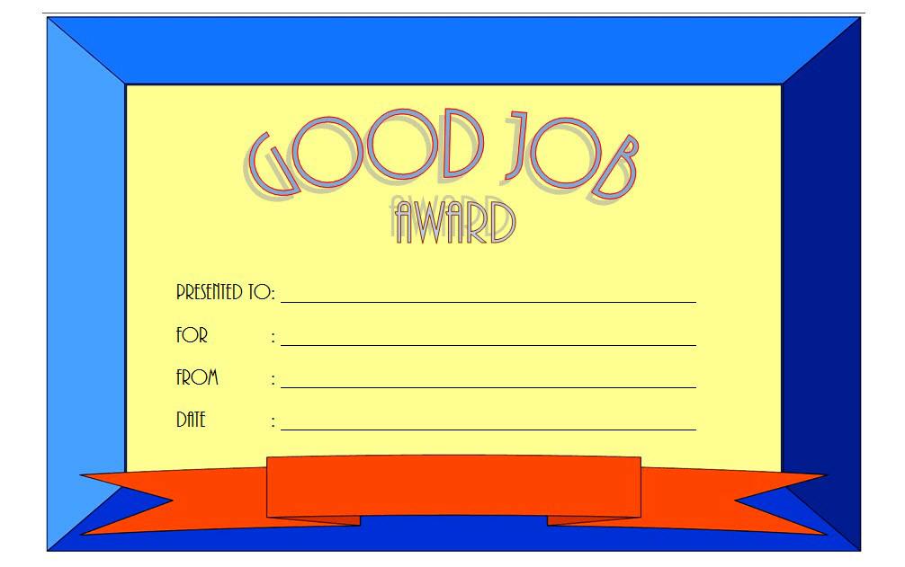 FREE Great Job Award Certificate Template 4; good job