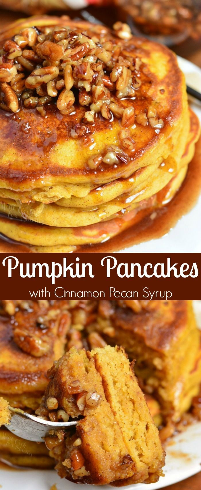 Pumpkin Pancakes with Cinnamon Pecan Syrup. These soft, fluffy buttermilk pancakes are made with pumpkin puree and spices. Over the top of these easy pumpkin pancakes is a simple Cinnamon Pecan Syrup. #pancakes #breakfast #pumpkin #pumpkinpancakes #syrup #fallrecipes #fallbreakfast #pumpkindesserts