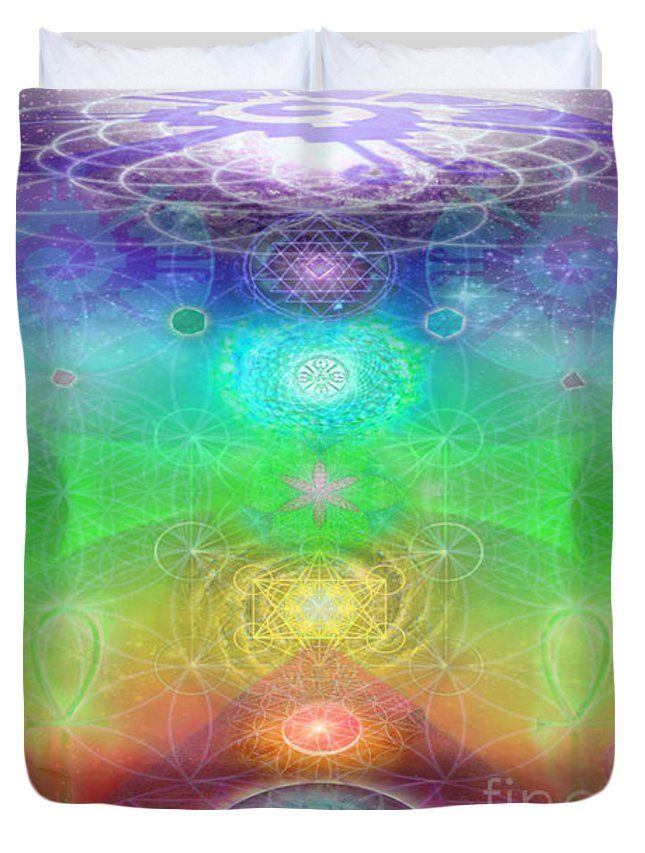 chakra activation geometry template duvet cover for sale by jahsah