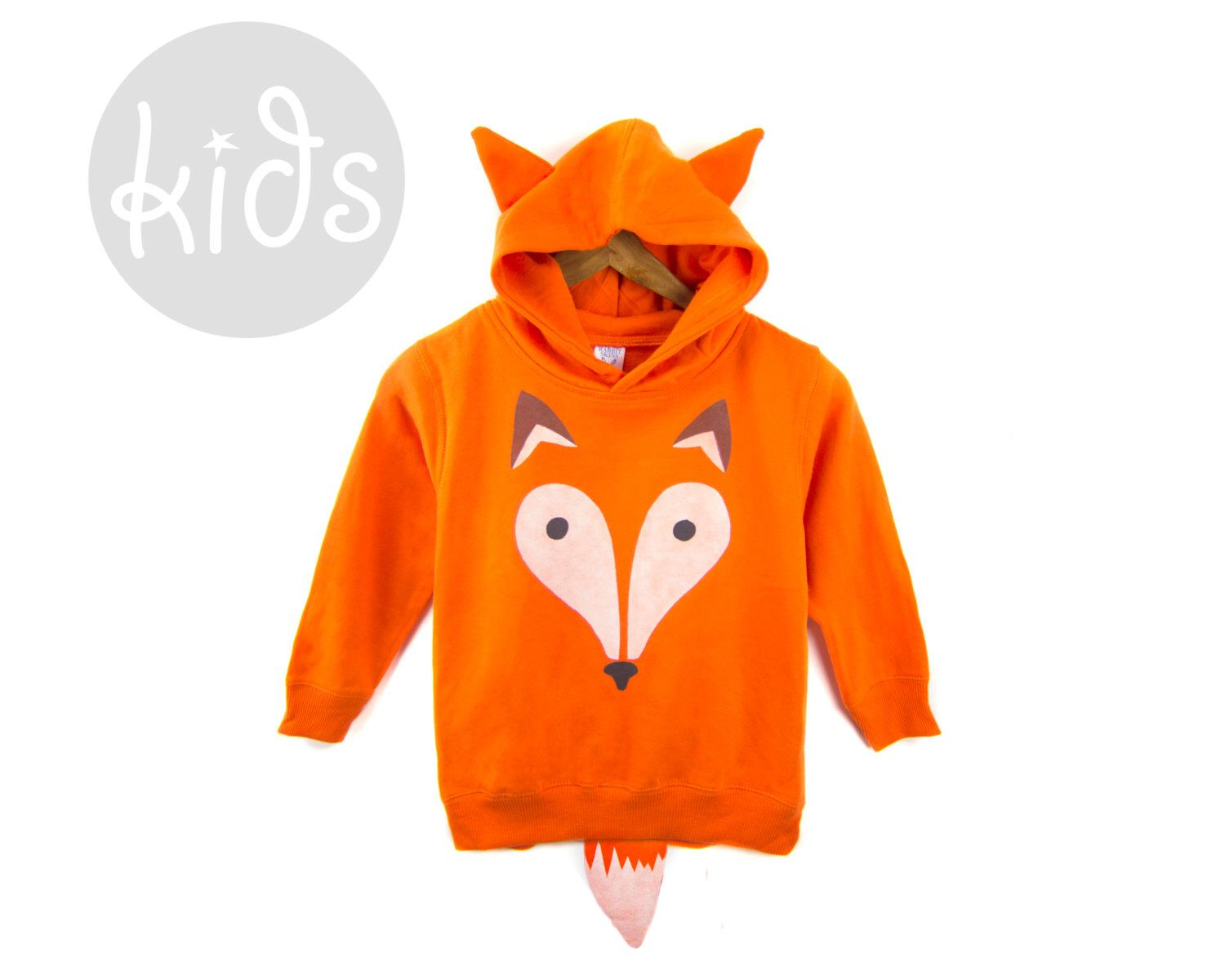 Geo Fox - Hand Stenciled Cotton Graphic Fleece Pocket Hoodie with Ears and Tail in Rust Orange - Baby Kids & Youth by twostringjane on Etsy https://www.etsy.com/listing/209783069/geo-fox-hand-stenciled-cotton-graphic