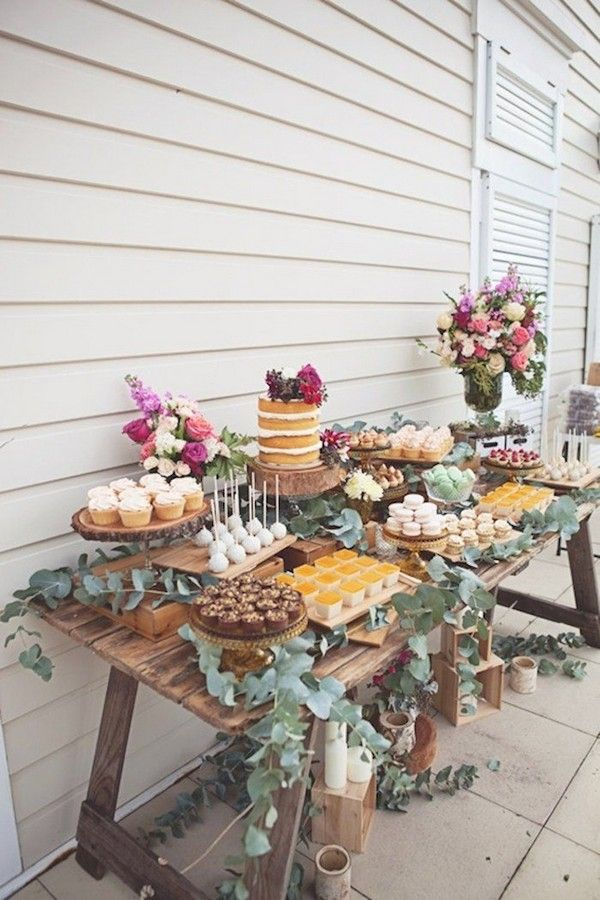country wedding dessert table ideas with naked cakes