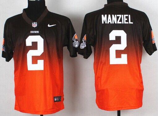 Nike Cleveland Browns #2 Johnny Manziel Brown/Orange Fadeaway Elite Jersey