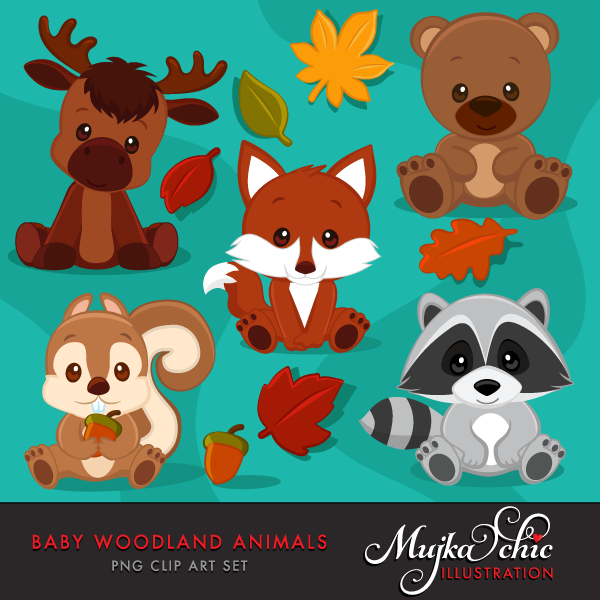 Baby Woodland Animals Clipart Baby Raccoon Baby Squirrel Animal Clipart
