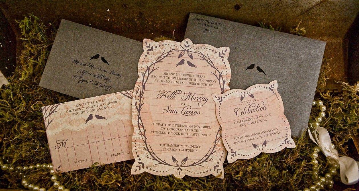 Vintage Garden Wedding Invitations. $200.00, via Etsy.