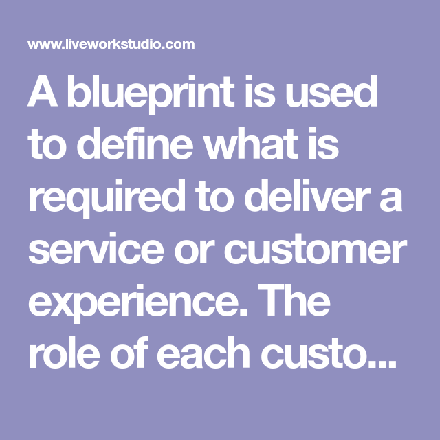 A blueprint is used to define what is required to deliver a service a blueprint is used to define what is required to deliver a service or customer experience malvernweather Choice Image