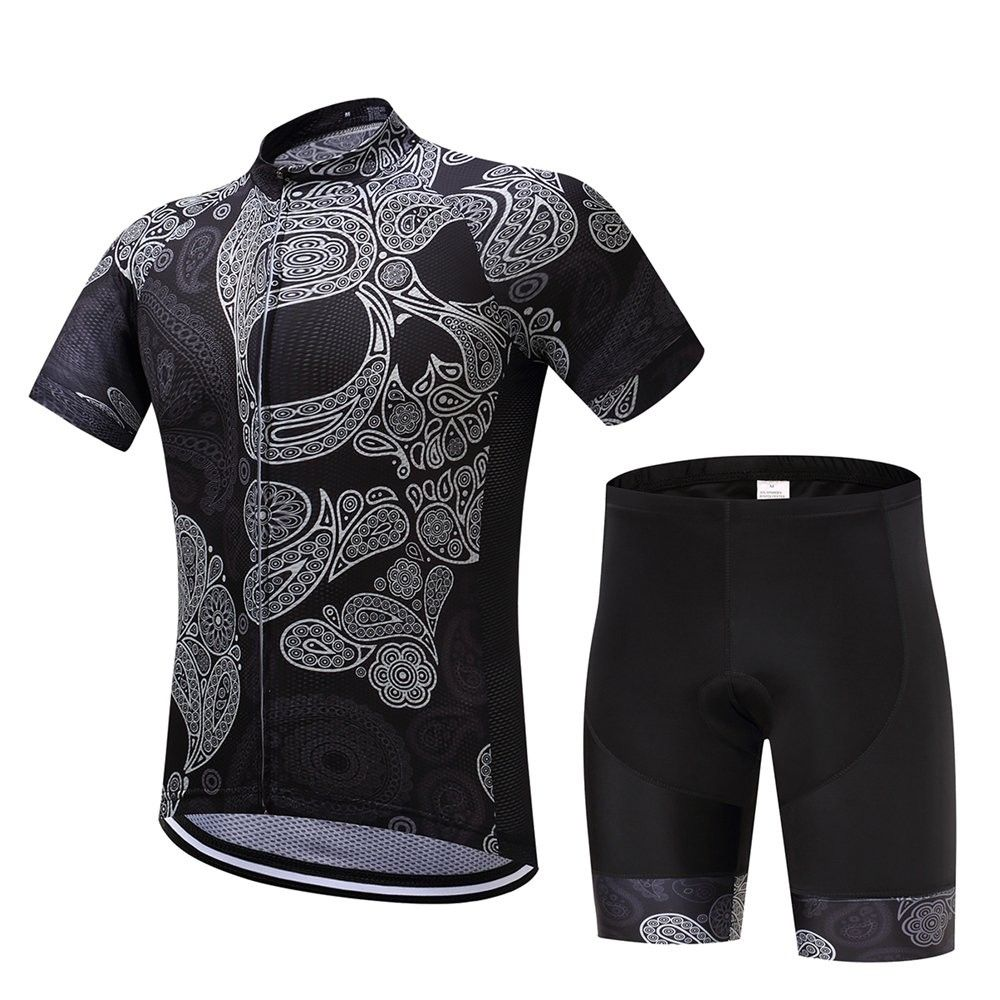 Logas Mens Cycling Team Jersey Bicycle Short Sleeve Bike Wicking 3D Padded Bib Shorts