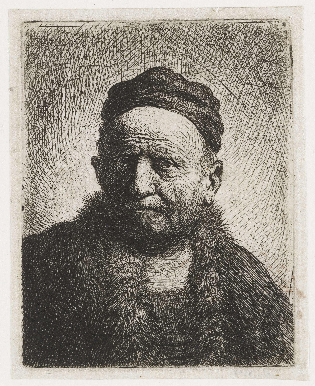 Rembrandt Harmensz. van Rijn | Man met kalotje: buste; de vader van Rembrandt (?), Rembrandt Harmensz. van Rijn, 1630 |