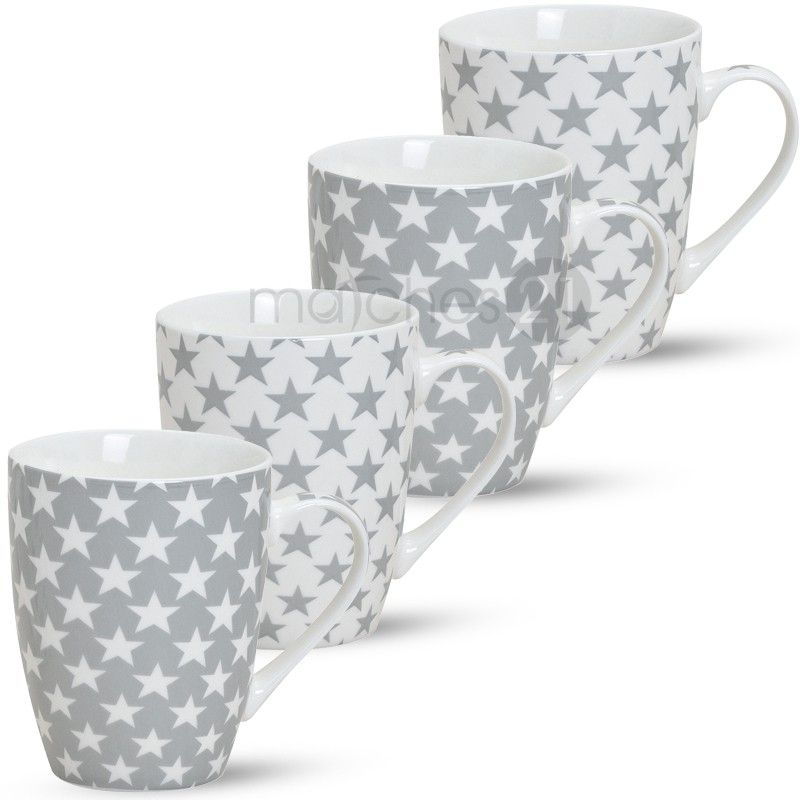 Kaffeetasse Kaffeebecher Porzellan Grau mit Weißen Sternen
