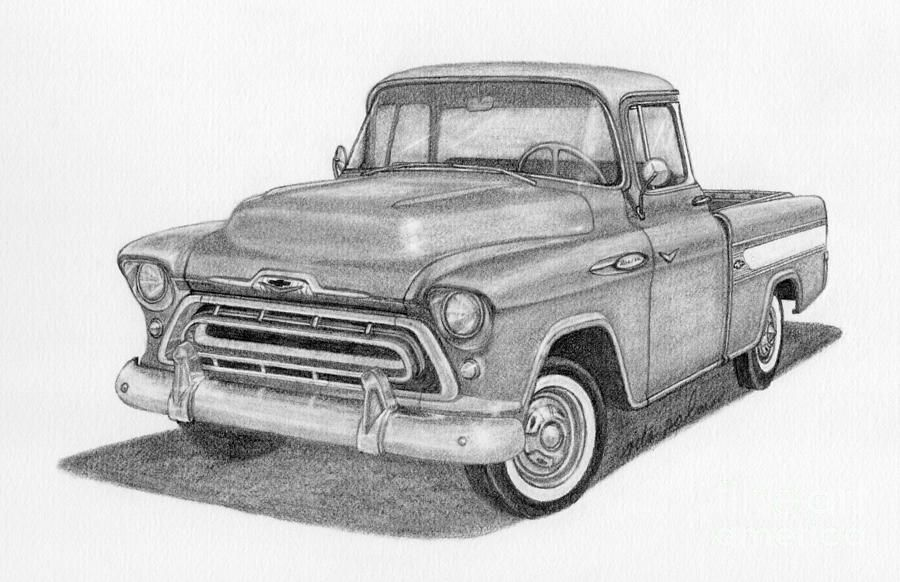 Auto Drawing 1957 Chevy Cameo Pickup Truck By Rita Palmer Truck Drawing Chevy Trucks Lifted Chevy Trucks