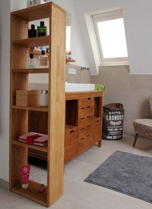 Regal aus Eichenholz für ein gemütliches Badezimmer - da kommt - regal fürs badezimmer