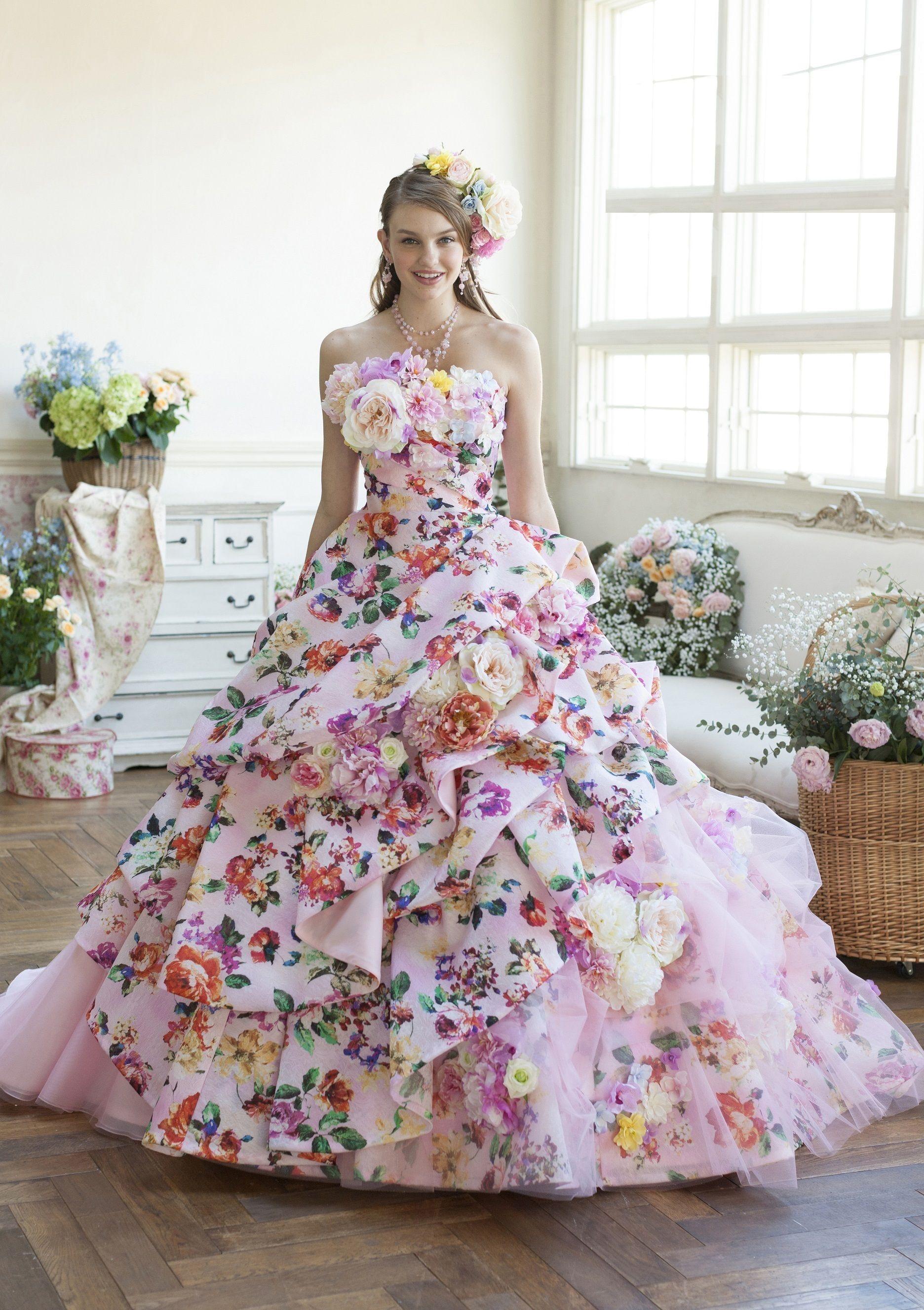 c54973e758e41 カラードレス ピンク 花柄プリント 35600