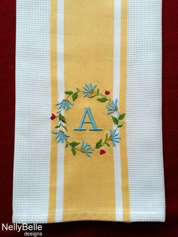 Monogrammed kitchen towel. Floral wreath monogram on cotton kitchen towel. NellyBelle Designs