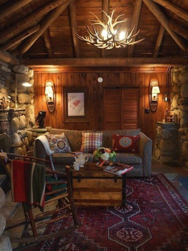 Small Cottage Interiors Cozy Home Office Cottage: Cabin Living Room, Cabin Living, Cabin Interiors