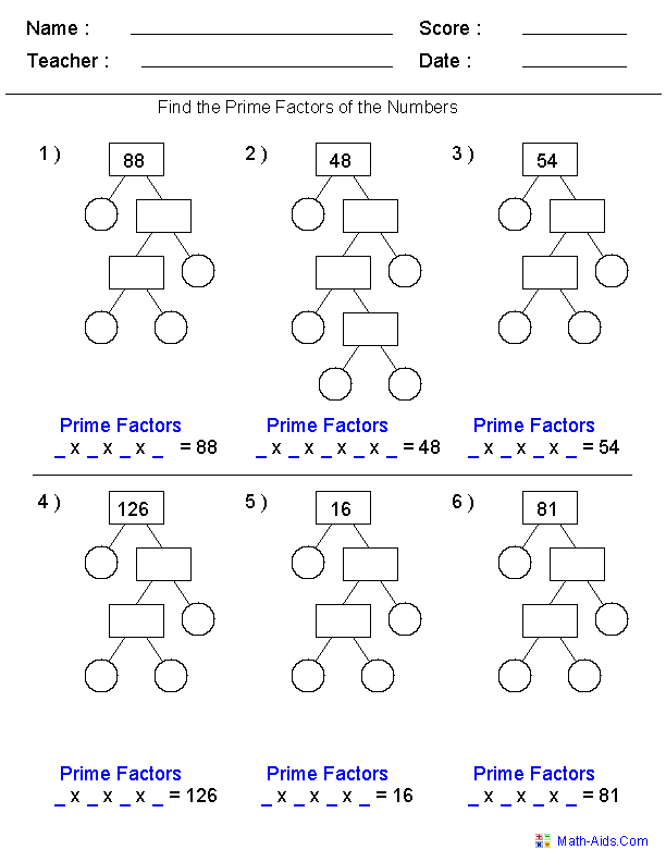 Prime Factorization Trees Factors Worksheets- Use for homework or in ...