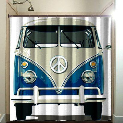 Bus Camper Vw Volkswagen Kombi Van Cool Shower Curtains
