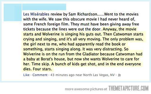 Best Les Miserables Review Ever Les Miserables Funny Movies Les Miserables Movie