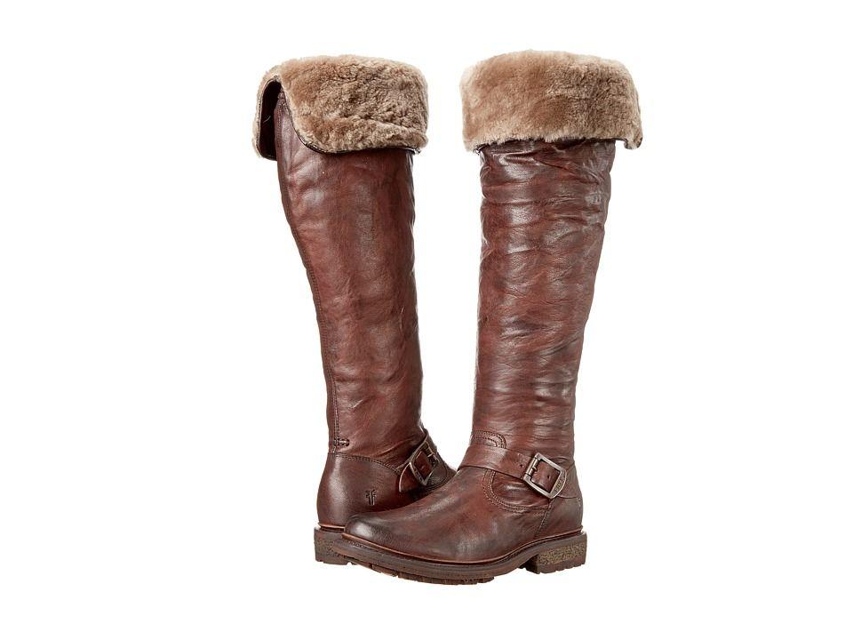 42950f594ac Frye Valerie OTK Cowboy Boots Dark Brown Antique Soft Vintage Shearling
