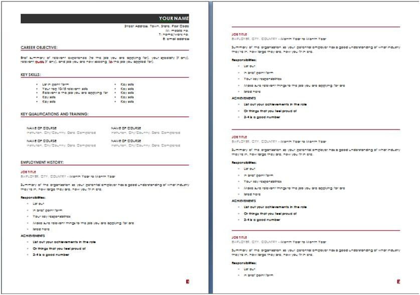 basic resume template australia