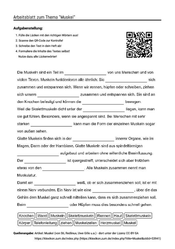 arbeitsblatt mit l ckentext zum thema muskel unterricht schule pinterest arbeitsbl tter. Black Bedroom Furniture Sets. Home Design Ideas