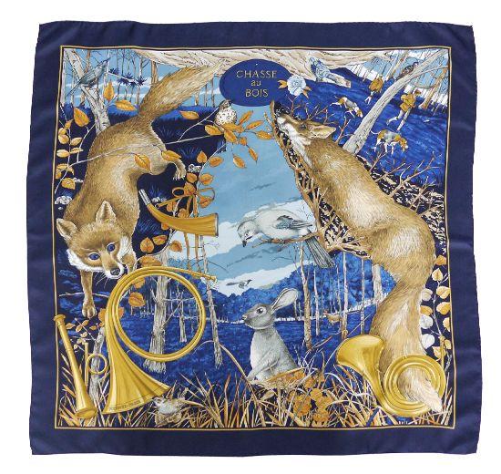 Sotaca 1898 - Vintage Hermès Chasse au Bois scarf Scarf designed by Carl De Parcevaux c1995 #Vintage #Hermes #vintagefashion #hermesscarf