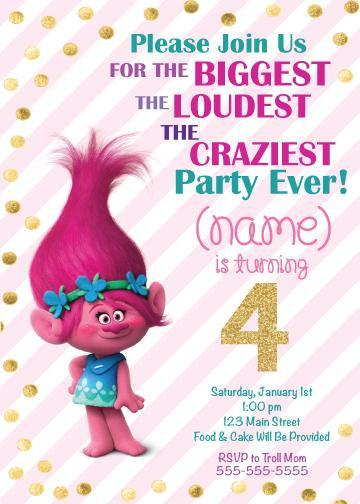 Poppy Trolls Birthday Invitation