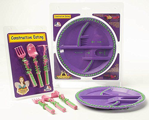 foto de Constructive Eating Garden Fairy Combo with Utensil Set Plate and Placemat ** Click image for