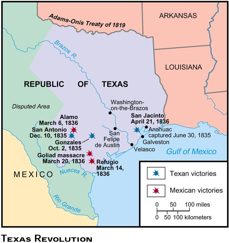 Texasrevolutionjpg Texas War Mexican War - Battle of san jacinto map us