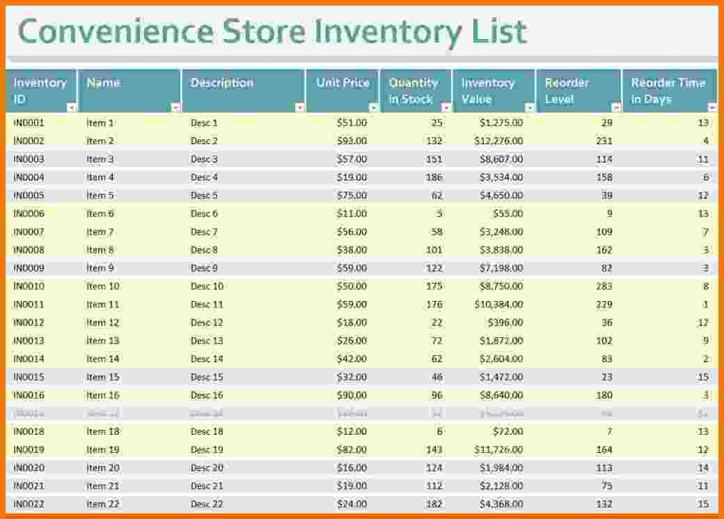 Convenience Store Inventory Spreadsheet Business Templates