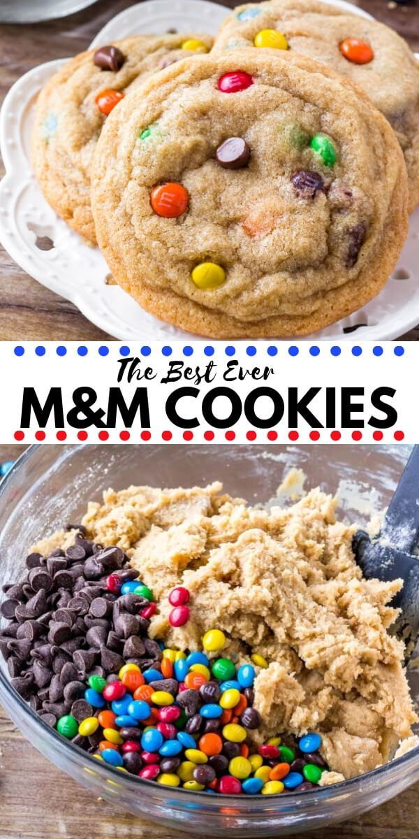 Soft and Chewy M&M Cookies is part of Dessert recipes - These M&M cookies are soft, chewy & gigantic  It's an easy cookie recipe that turns out just like your favorite cookies from the bakery  Use regular or mini M&Ms