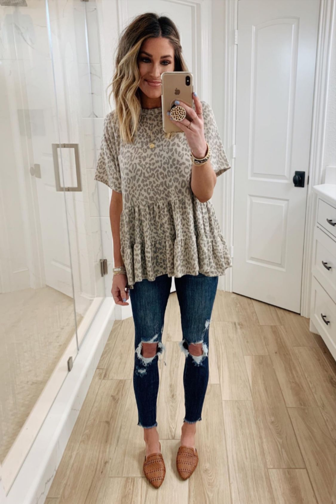 Photo of Walk On The Wild Side Animal Print Blouse Taupe