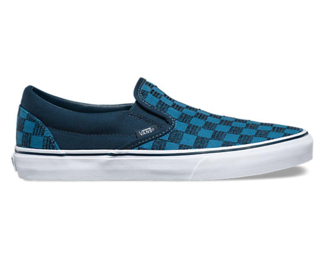 blue checkered vans