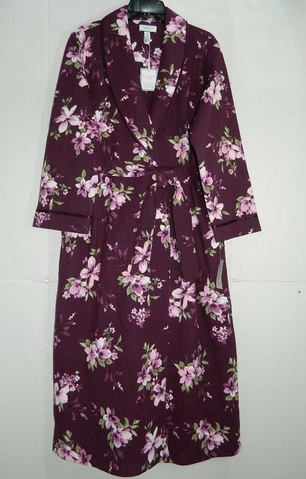 55032370421 (eBay Sponsored) Charter Club Women s Floral Quilted Long Wrap Robe NWT  Size M MSRP