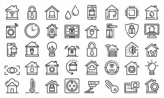 Conjunto de iconos de casa inteligentes  Premium Vector