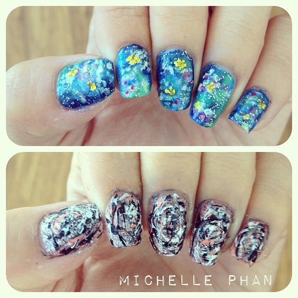 Monet Pollock Inspired Manicures By Michelle Phan